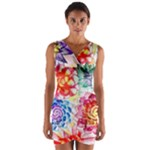 Colorful Succulents Wrap Front Bodycon Dress