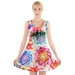 Colorful Succulents V Neck Sleeveless Dress