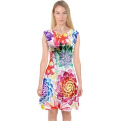 Colorful Succulents Capsleeve Midi Dress