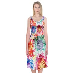 Colorful Succulents Midi Sleeveless Dress by DanaeStudio
