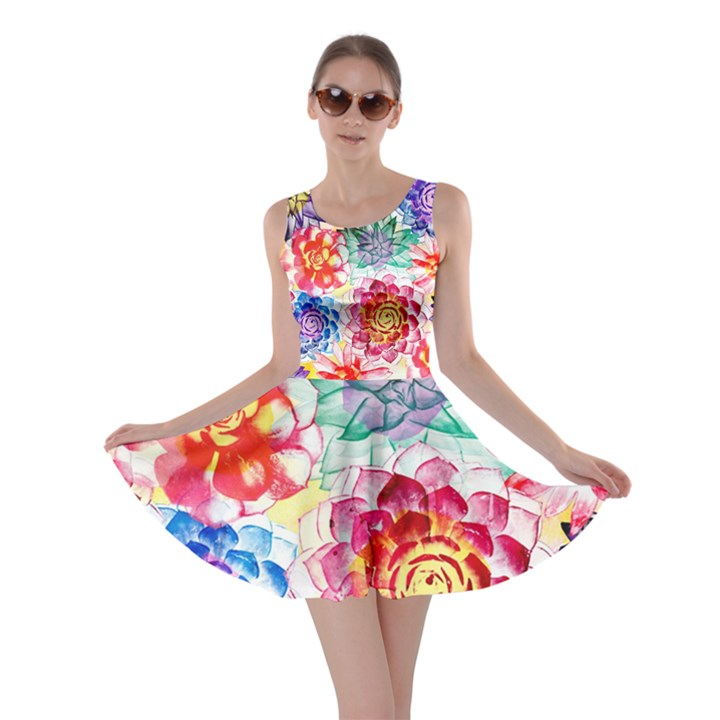 Colorful Succulents Skater Dress
