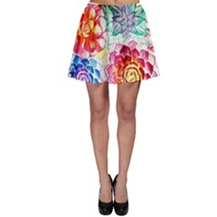 Colorful Succulents Skater Skirt