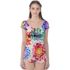 Colorful Succulents Boyleg Leotard  by DanaeStudio