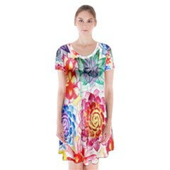 Colorful Succulents Short Sleeve V Neck Flare Dress by DanaeStudio