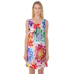 Colorful Succulents Sleeveless Satin Nightdress
