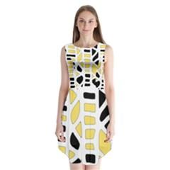 Yellow Decor Sleeveless Chiffon Dress