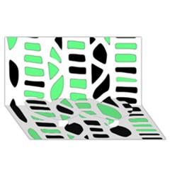 Light Green Decor Twin Heart Bottom 3d Greeting Card (8x4) by Valentinaart