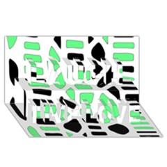 Light Green Decor Laugh Live Love 3d Greeting Card (8x4) by Valentinaart
