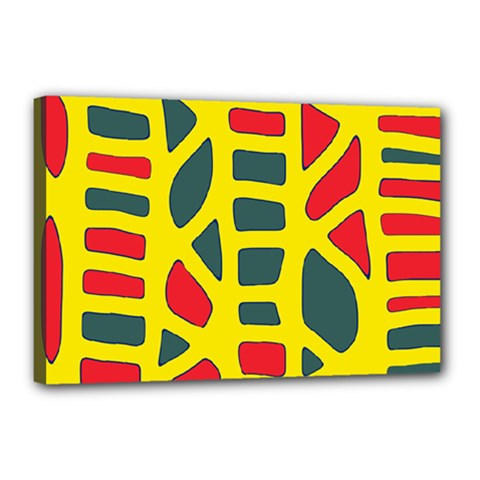 Yellow, Green And Red Decor Canvas 18  X 12  by Valentinaart