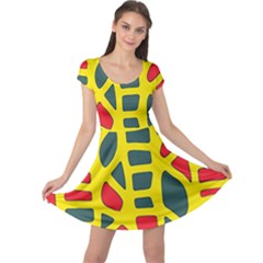 Yellow, Green And Red Decor Cap Sleeve Dresses