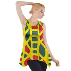 Yellow, Green And Red Decor Side Drop Tank Tunic