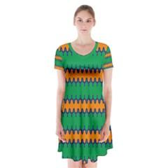 Orange Green Chains    Short Sleeve V Neck Flare Dress