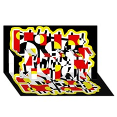 Red And Yellow Chaos Mom 3d Greeting Card (8x4) by Valentinaart