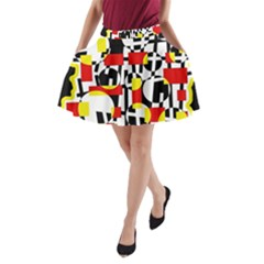 Red And Yellow Chaos A Line Pocket Skirt by Valentinaart