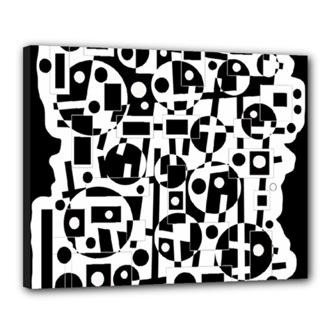 Black And White Abstract Chaos Canvas 20  X 16  by Valentinaart