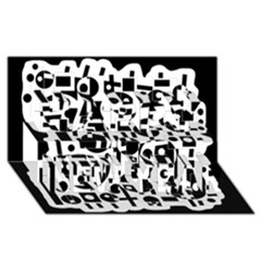 Black And White Abstract Chaos Happy New Year 3d Greeting Card (8x4) by Valentinaart
