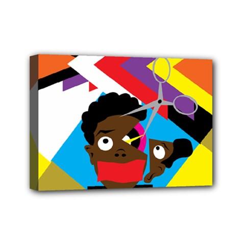 Scissors To My Mind Mini Canvas 7  X 5  by azureprinceinc