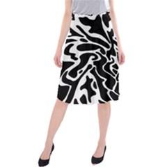 Black And White Decor Midi Beach Skirt