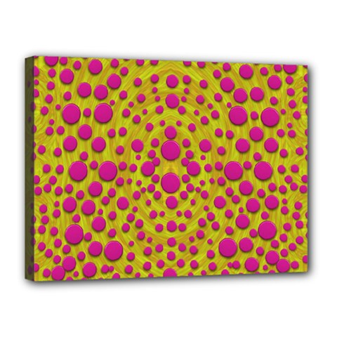 Fantasy Feathers And Polka Dots Canvas 16  X 12  by pepitasart