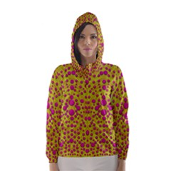 Fantasy Feathers And Polka Dots Hooded Wind Breaker (women) by pepitasart