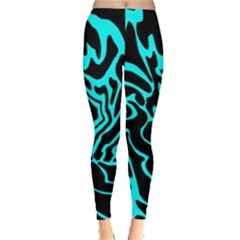 Cyan Decor Leggings  by Valentinaart