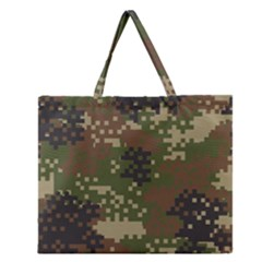 Pixel Woodland Camo Pattern Zipper Large Tote Bag by artpics