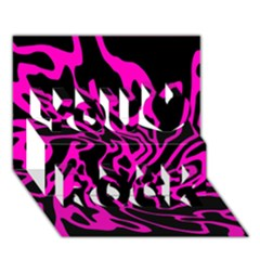 Magenta And Black You Rock 3d Greeting Card (7x5) by Valentinaart