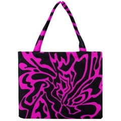 Magenta And Black Mini Tote Bag by Valentinaart
