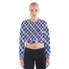 Snowflakes Pattern Women s Cropped Sweatshirt
