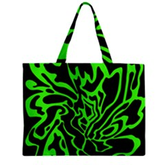 Green And Black Zipper Mini Tote Bag by Valentinaart
