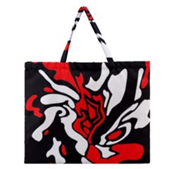 Red, Black And White Decor Zipper Large Tote Bag by Valentinaart