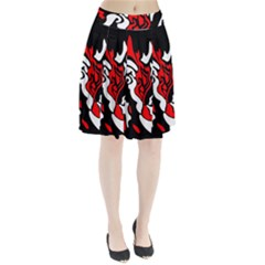 Red, Black And White Decor Pleated Skirt