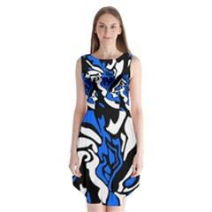 Blue, Black And White Decor Sleeveless Chiffon Dress