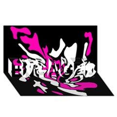 Magenta, Black And White Decor Engaged 3d Greeting Card (8x4)