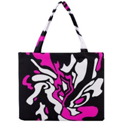 Magenta, Black And White Decor Mini Tote Bag by Valentinaart