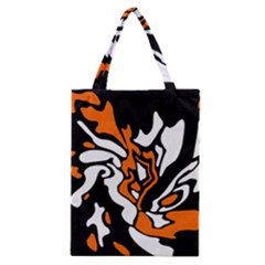 Orange, White And Black Decor Classic Tote Bag by Valentinaart