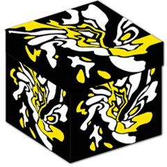 Yellow, black and white decor Storage Stool 12   by Valentinaart