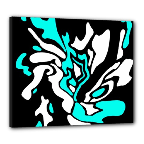 Cyan, Black And White Decor Canvas 24  X 20  by Valentinaart