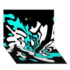 Cyan, Black And White Decor Circle 3d Greeting Card (7x5)
