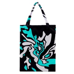 Cyan, Black And White Decor Classic Tote Bag by Valentinaart