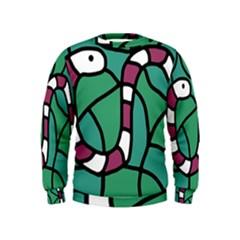 Purple Snake  Kids  Sweatshirt by Valentinaart