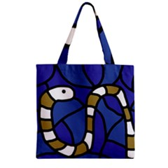 Green Snake Zipper Grocery Tote Bag by Valentinaart