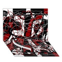 Red Black And White Abstract High Art Heart Bottom 3d Greeting Card (7x5) by Valentinaart