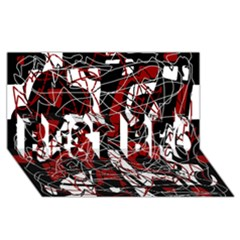 Red Black And White Abstract High Art Best Bro 3d Greeting Card (8x4) by Valentinaart