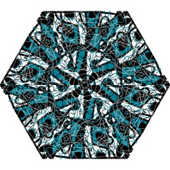 Blue, Black And White Abstract Art Mini Folding Umbrellas by Valentinaart
