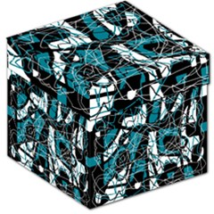 Blue, Black And White Abstract Art Storage Stool 12   by Valentinaart