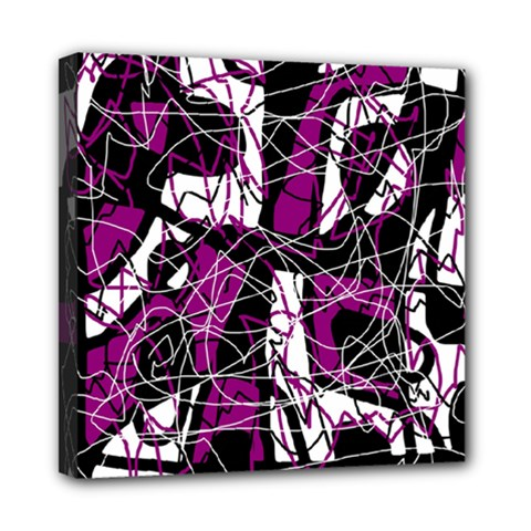 Purple, White, Black Abstract Art Mini Canvas 8  X 8  by Valentinaart
