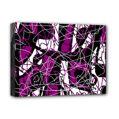Purple, White, Black Abstract Art Deluxe Canvas 16  X 12   by Valentinaart