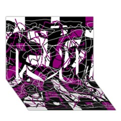 Purple, White, Black Abstract Art I Love You 3d Greeting Card (7x5) by Valentinaart