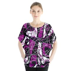 Purple, White, Black Abstract Art Blouse by Valentinaart